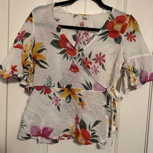 Old Navy Floral Wrap Blouse